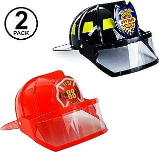 Tigerdoe Fireman Costume - 2 Pack Hard Helmets - Fireman Helmet - Firefighter Hats - Fireman Accessories