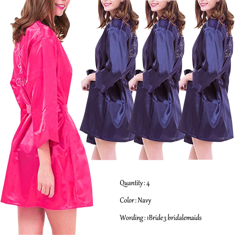 BridalAffair Set of 46 Women's Satin Robes Bridal Wedding Party Kimono Bathrobe Bridesmaid Loungewear Nightgown Short