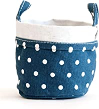 maika Recycled Canvas Storage Bucket 3-Pack, Size Medium, Dots Navy