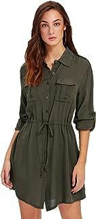 Women's Roll Up Sleeve Pocket Front Drawstring Mini Tunic Shirt Dress