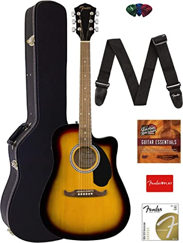 Fender FA-125CE Dreadnought Cutaway Acoustic-Electric Guitar - Sunburst Bundle with Hard Case, Strap, Strings, Picks,...