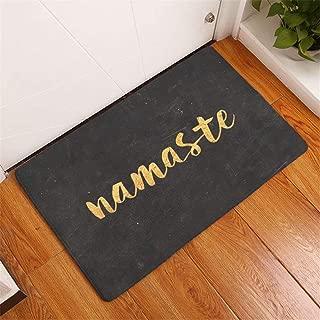 YQ Park Machine Washable Doormat Namaste Gold Letter Black Indoor/Outdoor Door Mat Fun Flannel Carpet