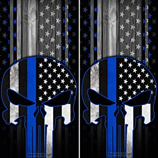 Speed Demon Hot Rod Shop Cornhole Board Wraps ~ Punisher Skull Thin Blue Line Subdued American Flag Corn Hole Boards Laminated Decal Wraps (Set of 2)