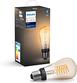 Philips Hue Witte gloeidraad Enkele slimme LED ST64-lamp [E27 Edison-schroef] met Bluetooth, vlamwit, werkt met Alexa, Goo...