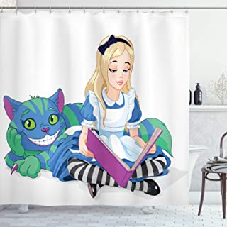 Ambesonne Alice in Wonderland Shower Curtain, Alice Reading Book Cat Colorful World Happiness Love Character Image, Cloth Fabric Bathroom Decor Set with Hooks, 75 Long, White Purple