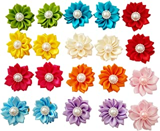 JpGdn 20pcs/(10pairs) Cute New Dog Hair Bows with Rubber Band Pearls in Pretty Mix Colors Dog Bows Flower for Puppy Hair Grooming Accessories