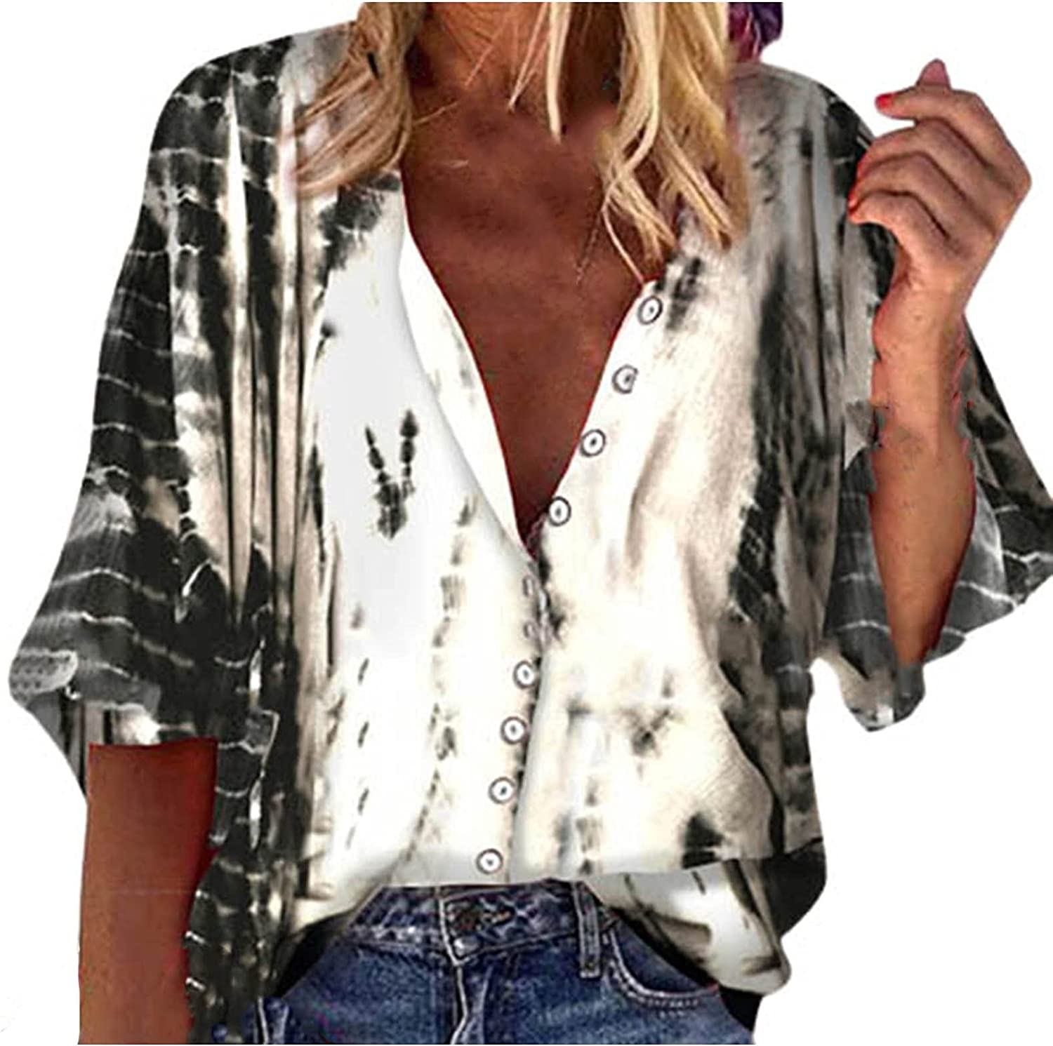 Blouses & Button-Down Shirts V-Neck Printed Blouse 3/4 Lantern Sleeve Tshirts Loose Casual Top Tunics