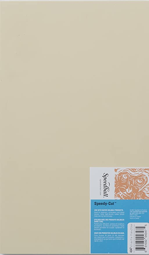Speedball 4347 Speedy-Cut Block Printing Carving Block - Soft Rubber-Like Material Easy to Carve – 6.75 x 11 Inches
