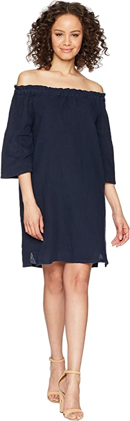 Ruffle Edge Linen Dress