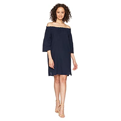 Allen Allen Ruffle Edge Linen Dress (Lapis) Women