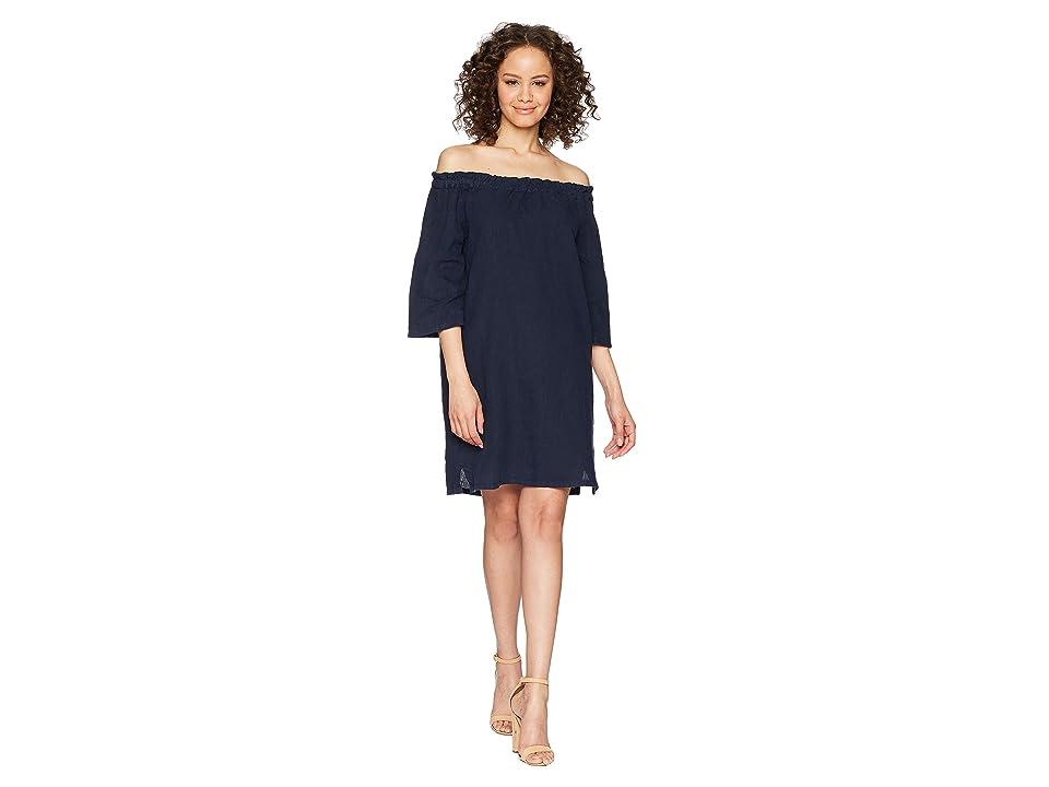 Allen Allen Ruffle Edge Linen Dress (Lapis) Women