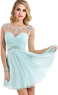 4e72de7dc120 MisShow Women s Crystal Backless Cap Sleeves Chiffon Short Prom Cocktail  Dress