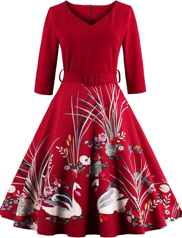 Babyonline Floral Vintage Women Dresses Half Sleeve 1950s Rockabilly Party Gown
