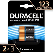 Duracell High Power Lithium 123 Battery 3V, Pack of 2 (CR123/CR123A/CR17345) Designed for Use in Sensors, Keyless Locks, Photo Flash and Flashlights