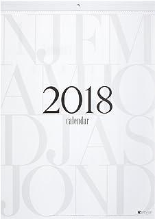 2018年壁掛けカレンダー タイポグラフィ B3 シンプル&スタイリッシュデザイン