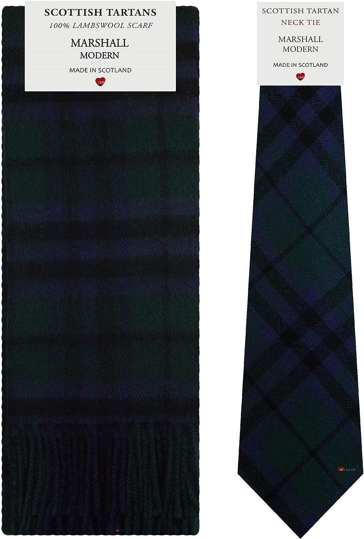 Marshall Modern Tartan Plaid 100% Lambswool Scarf & Tie Gift Set