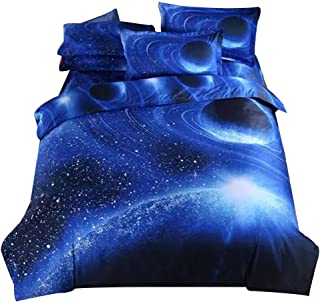 Alicemall Full Blue Galaxy Bedding Sets Stars Galaxy Space 4-Piece Duvet Cover, Flat Sheet and 2 Pillowcases Bed Sets, Pol...