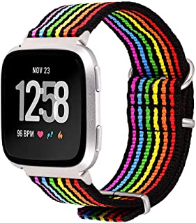 Bandmax Compatible for Rainbow Fitbit Versa Bands LGBT, Nylon Fitbit Straps Accessories Black Bottom Breathable Sport Wris...