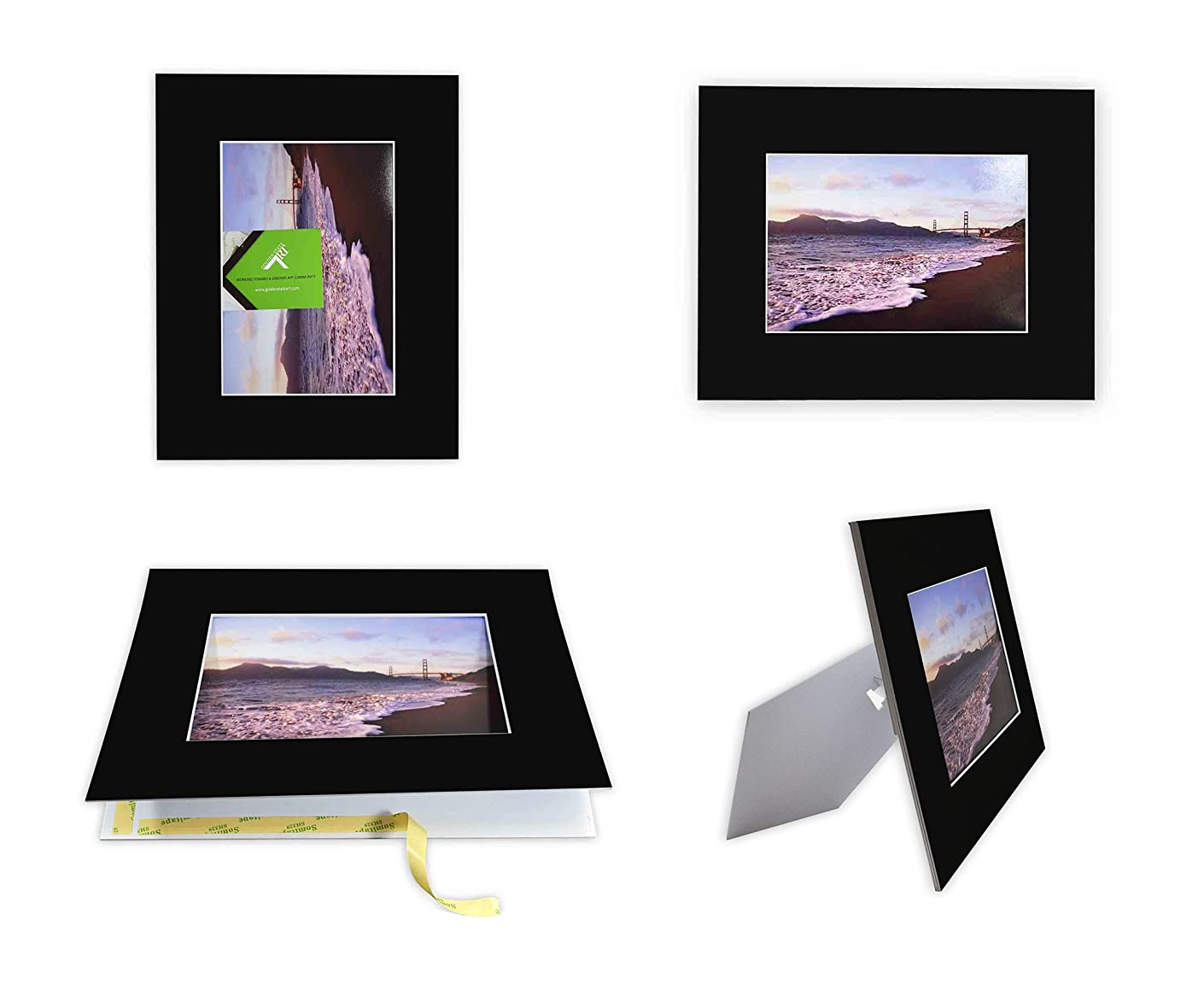 Golden State Art Pack of 10 Black 8x10 Self-Assemble Photo Mat for 5x7 Picture with Backing Board pre-gummed W/Easel Display Stand, Includes 10 Clear Bags