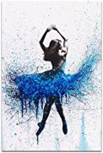 Nordic Fashion Beautiful Abstract Painting Blue Splatter Ballerina Girl Poster Wall Canvas Artist Home Living Room Decorativo 50X70cm Sin Marco