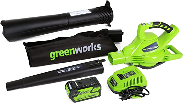 Greenworks 40V 185 MPH Variable Speed Cordless Blower Vacuum 4 0 AH Battery Included 24322