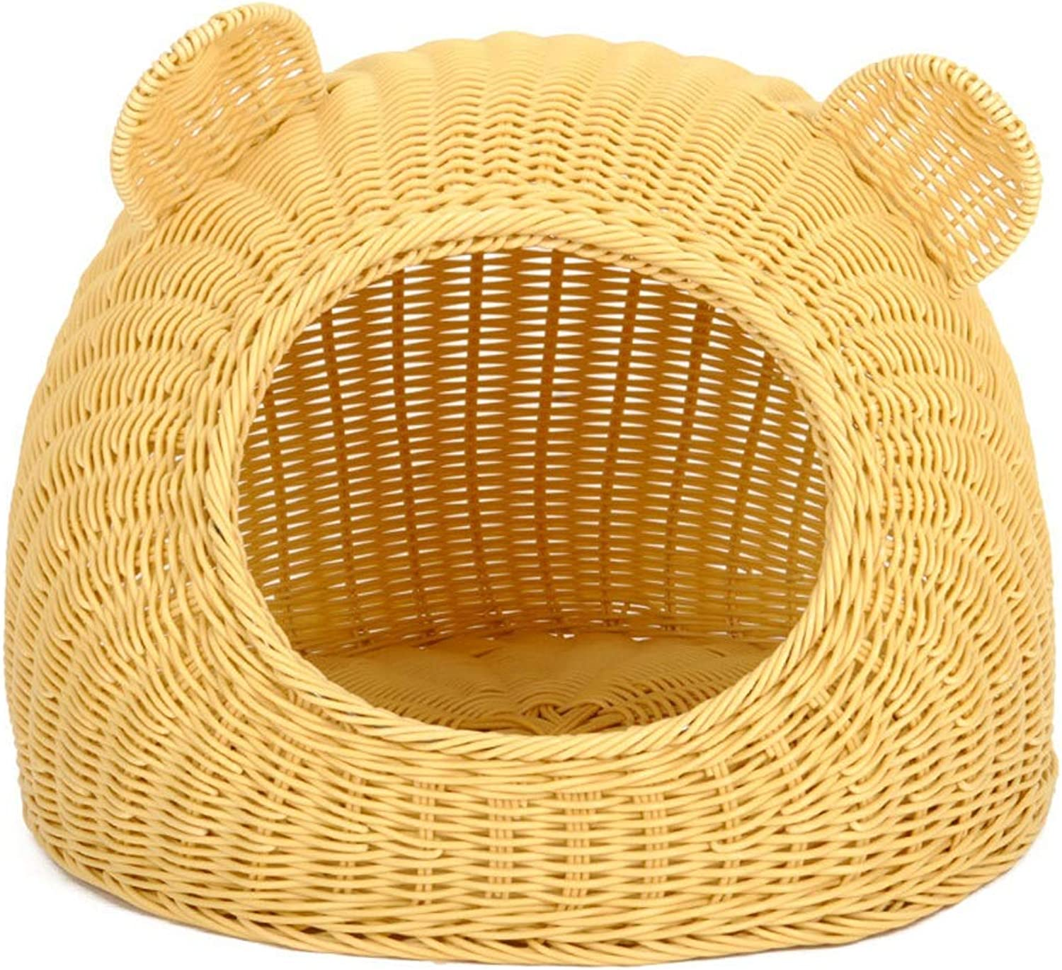 Alppq Primary color Rattan Nest Bamboo Plastic Cat House Cat Ears Cat Bed Four Seasons Universal Doghouse Pet Cave Luxury Soft Washable Cat Nest Villa Easy to Clean Comfort Cat Dog Nest Pet Bed