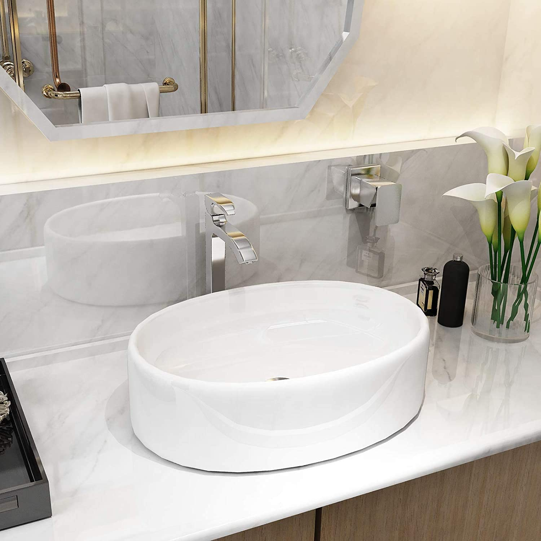 Mecor White Vessel Sink - Bathroom Oval Por 20''x14'' 着後レビューで 送料無料 並行輸入品