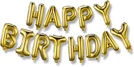 Happy Birthday Balloons Banner (3D Gold Lettering) Mylar Foil Letters | Inflatable Party Decor and Event Decorations for K...