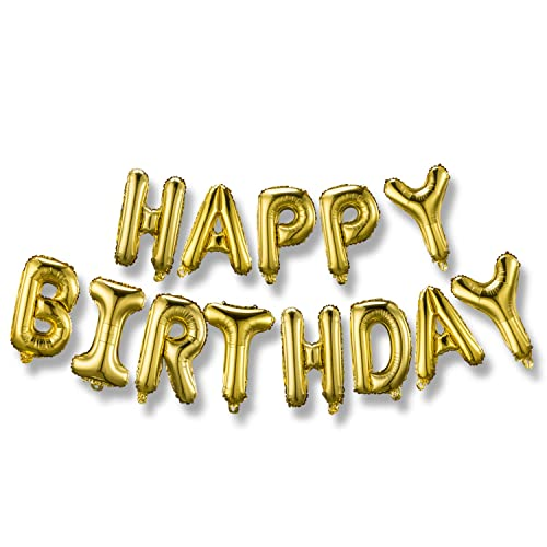 Happy Birthday Balloons Banner 3D Gold Lettering Mylar Foil Letters