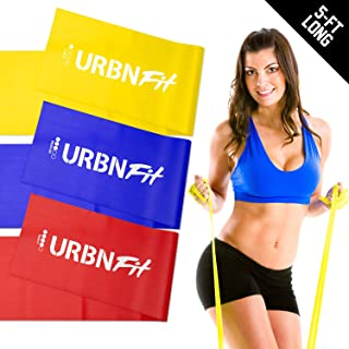 URBNFit Loop Exercise Bands 3 Pack w/Workout Guide- Workouts, Stretching and Rehabilitation (Easy, Medium, Hard) - Booty Bands