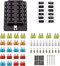Faylapa 12-Way Fuse Block DC 12V-32V Blade Fuse LED Indicator with Cover for Automotive Boat Marine RV Truck