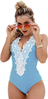 8b607787efb9d Blooming Jelly Women's Vintage One Piece Swimsuit Lace Tummy Control Halter Swimwear  Bathing Suit