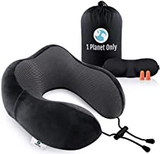 1PlanetOnly Travel Pillow, Memory Foam Pillow, Travel Neck Pillow, Travel Neck Support Pack including Carry Bag, Sleep Mask, Noise Cancelling Earplugs and Phone Pocket. Ergonomic Design for Extreme Comfort, Super Soft Washable Cover, 100% Eco-Friendly Premium Quality Material. For Adults and Kids. Great for Plane, Train, Car, Couch.