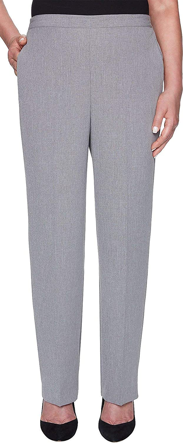 Alfred Dunner Womens Petite Full Back Elastic Medium Length Pant Pants