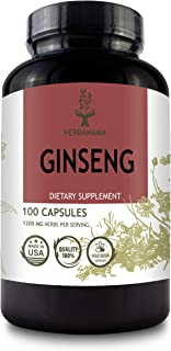 Ginseng 100 Capsules 1200 mg   Filled with Korean Red Ginseng Root   Panax Ginseng   Brain Function   Improves Energy & Mood   Strengthens The Immune System   Non-GMO