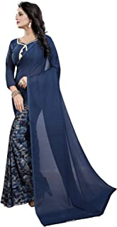 ETHNICMODE Women's Georgette Saree with Blouse Piece (Multi-Color_Free_Size) Half Ink
