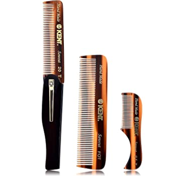 Kent Set of 3-81T Beard and Mustache Comb, FOT Pocket Comb, and 20T Folding Pocket Comb with Clip - Best Beard Care Kit, Travel and Home, Beard Straightener for Men and Beard Grooming Kit