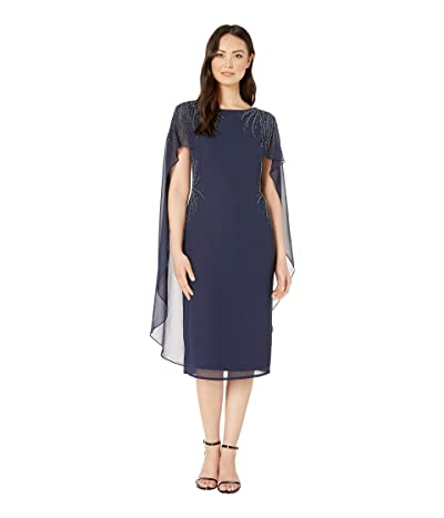 Adrianna Papell Beaded Georgette Cape Back Cocktail Dress (Midnight) Women