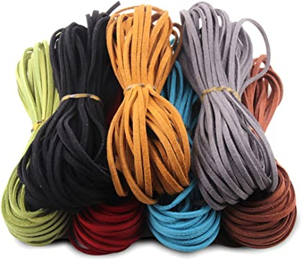 Candygirl 7 Rolls Faux Suede Cord Thread String for Handmade Craft DIY Jewelry Bracelet Necklace Making Beading Thread(7 Colors, 9.2m/roll)