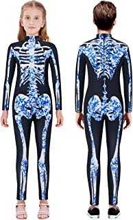 Halloween Costumes for Girls 3D Skeleton Cosplay Jumpsuit Bodysuit Size 7-14