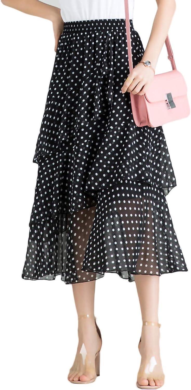 Anpox Women's Summer Maxi Skirt Casual Polka Dot Printed Chiffon Midi Skirt Lotus Leaf Edge
