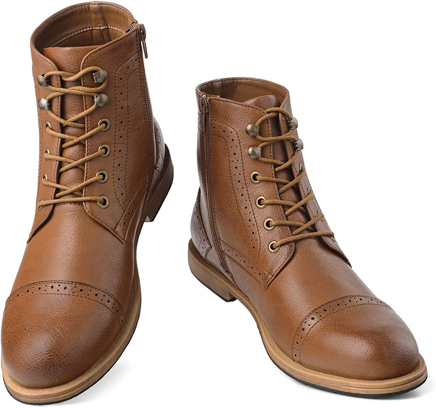 GM GOLAIMAN Men's Chukka Wingtip Oxford Boot Lace-Up Zip Boots Ankle Dress Boots Work Combat Hunter