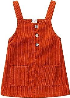 فستان Tiacham للفتيات الصغار من القطن المضلع بالكامل فساتين سادة للأطفال الخريف والشتاء جيوب بأزرار (كاراميل، 2-3T)