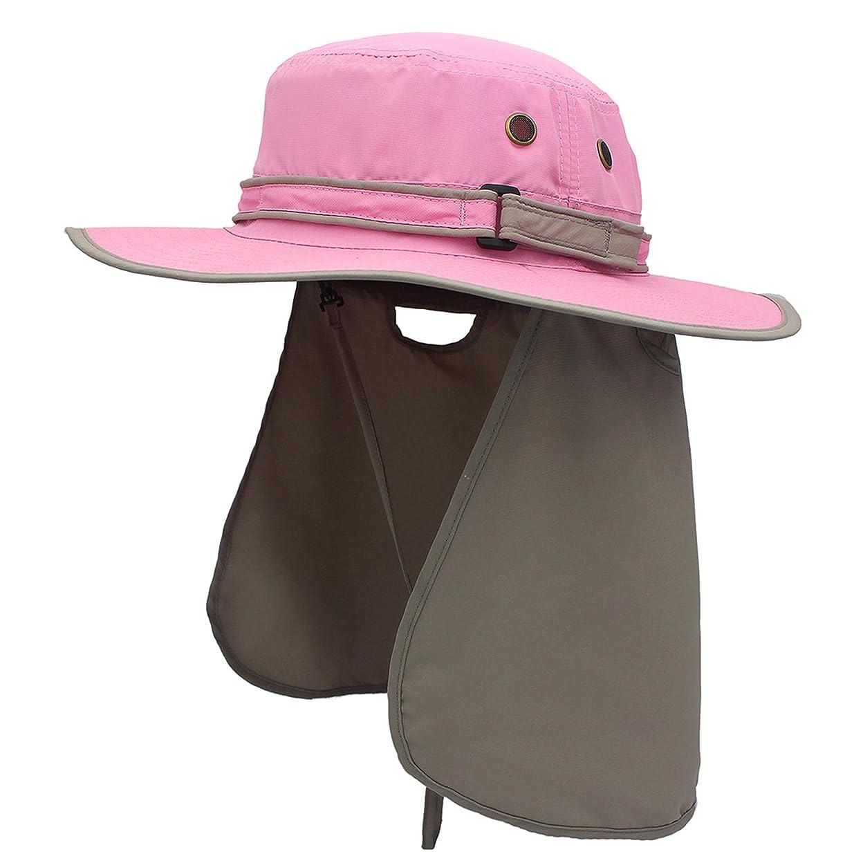 粒であること振幅アウトドアハット日除け付帽子 漁師キャップUV?紫外線カット つば広 大きいサイズ 軽薄 速乾 防水 通気性抜群 あご紐付き 男女兼用 釣り ガーデニング 登山 農作アウトドア作業