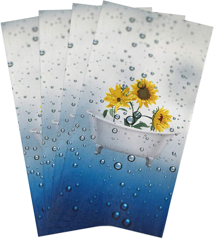 Kitchen Dish Towels Large discharge sale 4 Pack-Super Soft Sunfl Microfiber Max 61% OFF Absorbent