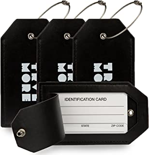TravelMore PU Leather Luggage Tags For Suitcases - Travel Identifier Labels Set For Bags & Baggage (2,4 & 7 Pack)