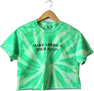Make America High Again Neon Mint Green Tie-Dye Graphic Crop Top