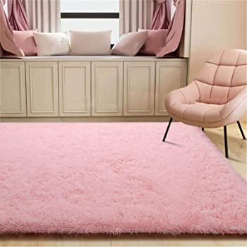 Zareas Modern Furry Area Rugs for Living Room 5x8 Baby Pink Shag Rug for Bedroom Fluffy Soft Fuzzy Carpet for Girls Room Girls Boys Long Fur Indoor Dorm Nursery Floor Comfy Accent Home Decor Mat