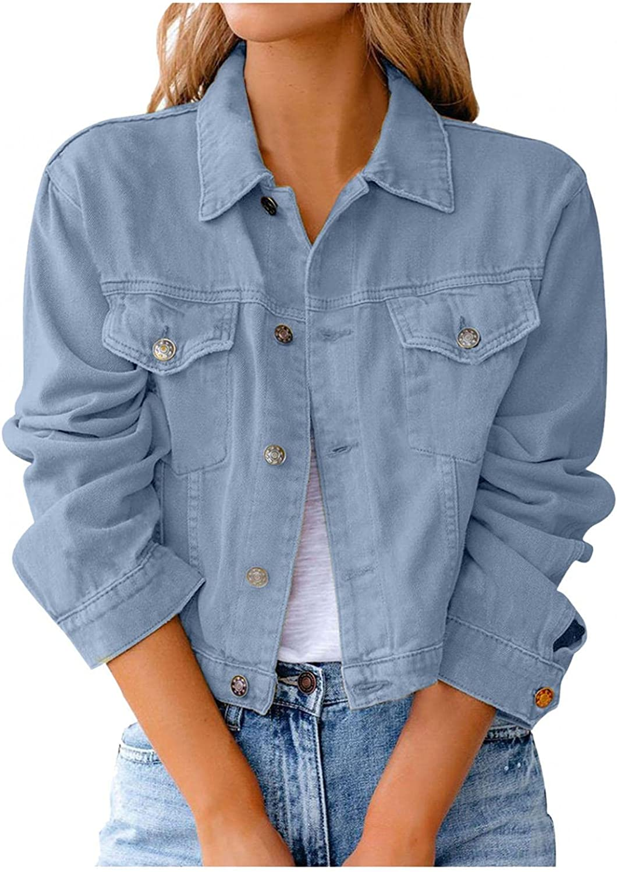 Misaky Women Denim Jacket Vintage Button Down Distressed Short Denim Jean Jacket Coat With Pocket