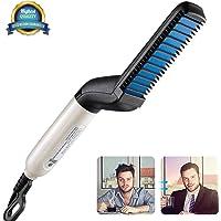 LARMHOI Hair and Beard Straightening Styler Brush with Side Hair Detangling